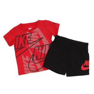 ナイキ(NIKE)の新品未使用♡NIKEセットアップ85cm♡ナイキ半袖Tシャツハーフパンツ赤黒(Tシャツ)