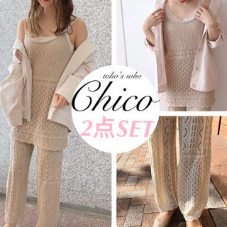 who's who Chico - 2点セット¥14080【Chico】透かし柄キャミ&ロングパンツ セットアップ