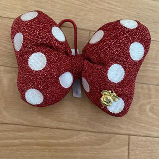 ディズニー(Disney)のミニー ゴム 髪ゴム 飾り インテリア リボン 赤 ドット柄 (ヘアアクセサリー)