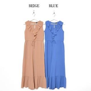 メルロー(merlot)の【お値下げ】新品 merlot メルロー 裾フレア オールインワンパンツ ブルー(オールインワン)