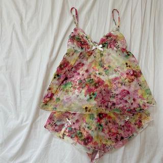 エイチアンドエム(H&M)のH&M 花柄 キャミショートパンツ パジャマ(ルームウェア)