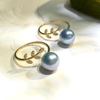 【高級】天然真多麻真珠 リング8.5-9mm k18(リング(指輪))