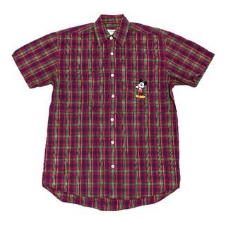 ディズニー(Disney)のディズニー Disney 半袖 チェックシャツ 刺繍 ミッキー ミッキーマウス(シャツ)