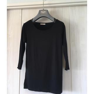 ザラ(ZARA)の鎖骨美人カットソー 七分袖 ブラック(Tシャツ(長袖/七分))