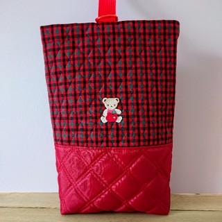 ファミリア(familiar)の【ハンドメイド】キラキラリンゴワッペン付シューズバッグ 赤チェック(バッグ/レッスンバッグ)