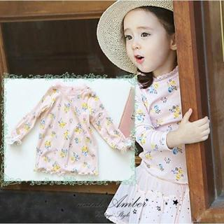 アンバー(Amber)の100cm 小花柄 ラッフル カットソー(Tシャツ/カットソー)