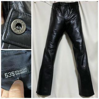 5351 POUR LES HOMMES - 5351POUR LES HOMMES 牛革 ブラックレザーパンツ 1 S 黒
