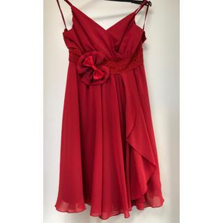 エフデ(ef-de)のワンピース  ドレス 9号 赤 リボン付き 未使用品(ひざ丈ワンピース)