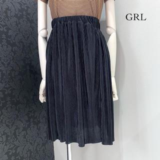 グレイル(GRL)のGRL グレイル ◆ ブラック アコーディオンプリーツ スカート アコプリ(ひざ丈スカート)