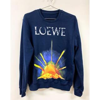 ロエベ(LOEWE)の美品 Loewe ロエベ スウェット M サンライズ 日の出 ネイビー ロゴ(スウェット)