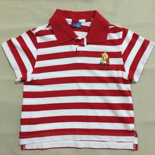 ディズニー(Disney)のくまのプーさん ポロシャツ サイズ100 赤×白ストライプ 男の子 女の子(その他)