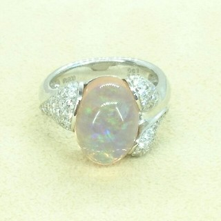 Pt900 メキシコオパール×ダイヤモンド リング(リング(指輪))