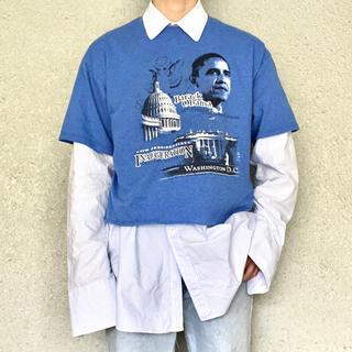 サンタモニカ(Santa Monica)の古着 オーバーサイズ ショート丈 オバマ Tシャツ(Tシャツ/カットソー(半袖/袖なし))