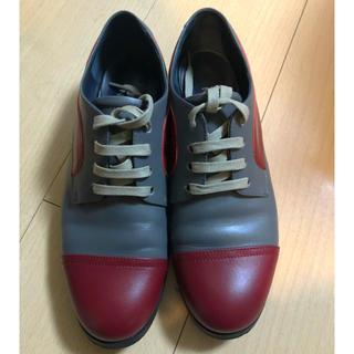 ジルサンダー(Jil Sander)のジルサンダー ネイビー レースアップ シューズ グレー ボルドー(ローファー/革靴)