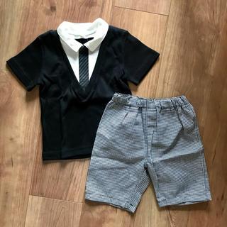 ニシマツヤ(西松屋)の【新品】男の子フォーマルセットアップ 半袖 上下セット(ドレス/フォーマル)