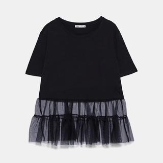 ザラ(ZARA)のチュールTシャツ(Tシャツ(長袖/七分))