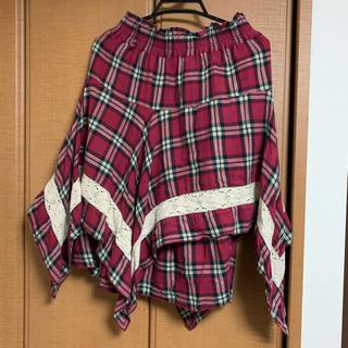 シマムラ(しまむら)のミディスカート チェック 赤(ひざ丈スカート)