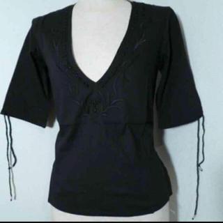 アンティックバティック(Antik batik)の大処分!新品未使用!ANTIK BATIK 刺繍カットソー ブラック S(シャツ/ブラウス(長袖/七分))