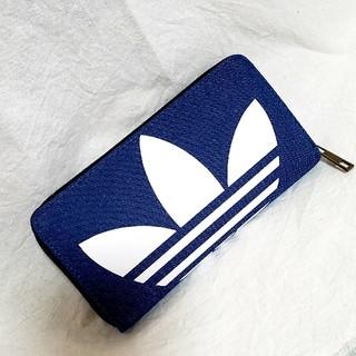 アディダス(adidas)のadidas デニム ラウンドファスナー 長財布 ウォレット bigロゴ(財布)