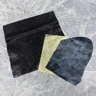 レザー ◆ クラフト 革 本革 皮 はぎれ 3色 セット(生地/糸)