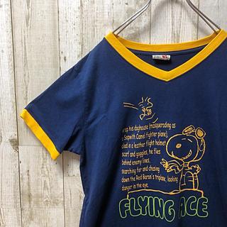 ピーナッツ(PEANUTS)のPEANUTS ピーナッツ スヌーピー リンガー トリム Tシャツ LLサイズ(Tシャツ(半袖/袖なし))