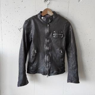 イサムカタヤマバックラッシュ(ISAMUKATAYAMA BACKLASH)のBACKLASH ドイツカーフ製品染め ライダースジャケット XS(レザージャケット)