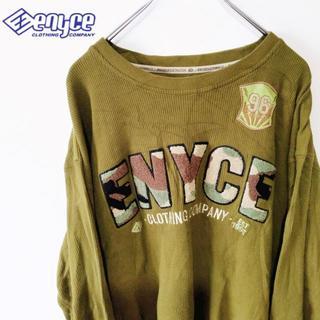 エニーチェ(ENYCE)の【ENYCE CLOTHING】リブトップス カーキ ブランドロゴ(Tシャツ/カットソー(七分/長袖))