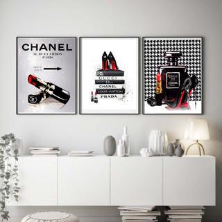 3枚セット インテリアポスター フォトフレーム アートポスター シャネル (ポスターフレーム)
