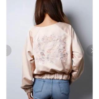 エイミーイストワール(eimy istoire)の定価2万エイミーイストワールfloral embroidery blouson (ノーカラージャケット)