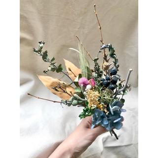 紫陽花とミモザのドライフラワースワッグ(ドライフラワー)
