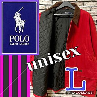 POLO RALPH LAUREN - polo ポロラルフローレン 皮ロゴ 襟コーデュロイ ハンティングジャケット 赤