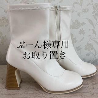 神戸レタス - 神戸レタス ラウンドトゥストレッチブーツ 白/ホワイト