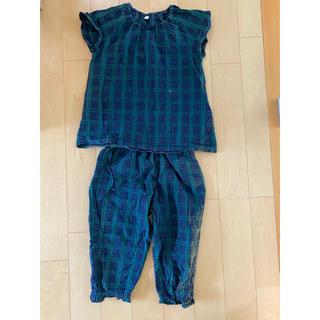 ムジルシリョウヒン(MUJI (無印良品))の無印良品 綿ドビーサッカースモックパジャマ 半袖七分丈 130 ダークネイビー(パジャマ)