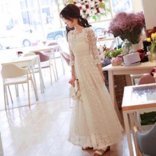 総レースロングドレス ホワイト(ウェディングドレス)