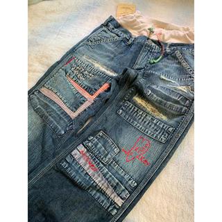 DENIM DUNGAREE - デニム&ダンガリーミッキーコラボデニム刺繍パンツ150新品