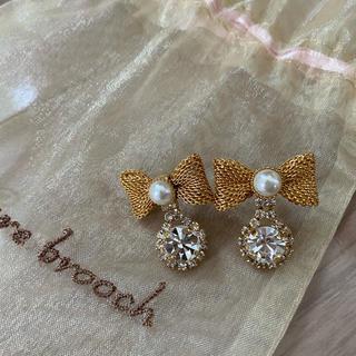 クチュールブローチ(Couture Brooch)の◎美品 ゴールド リボン ピアス◎(ピアス)