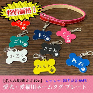 【名入れ彫刻】愛犬・愛猫用 ネームタグ プレート ホネVer.(キーホルダー/ストラップ)