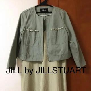 ジルバイジルスチュアート(JILL by JILLSTUART)のcoco_ne様専用 ジルスチュアート ショート丈グリーンジャケット(ノーカラージャケット)
