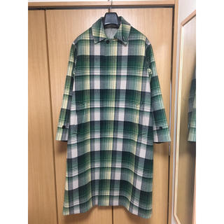 コモリ(COMOLI)のauralee ウールチェック メルトンステンカラーコート 美品 2019AW(ステンカラーコート)