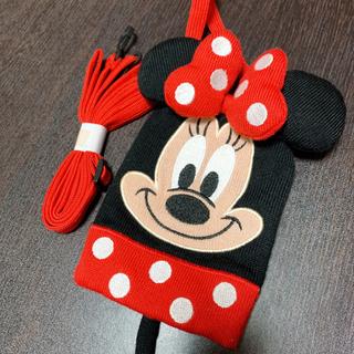ディズニー(Disney)のミニーちゃん スマホポーチ ケース リング(モバイルケース/カバー)
