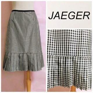 イエーガー(JAEGER)の【JAEGER/イエガー】大人ギンガムチェックスカート☆裾プリーツ黒白(ひざ丈スカート)