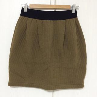 プチバトー(PETIT BATEAU)のプチバトー キルティング生地スカート オリーブグリーン PETIT BATEAU(ミニスカート)