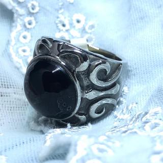 オーバルリング オニキス印台 天然石リング パワーストーン  魔除け 印台指輪(リング(指輪))