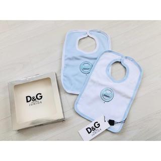 ドルチェアンドガッバーナ(DOLCE&GABBANA)の【新品】D&Gジュニア スタイ2枚セット 水色 白(ベビースタイ/よだれかけ)