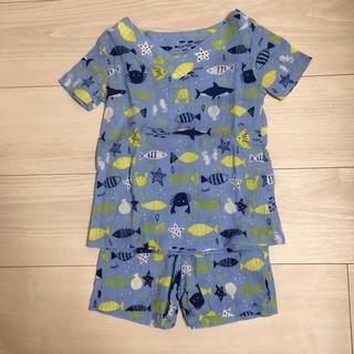 イオン(AEON)の甚平風パジャマ 水色・ネイビー2点セット 100cm(パジャマ)