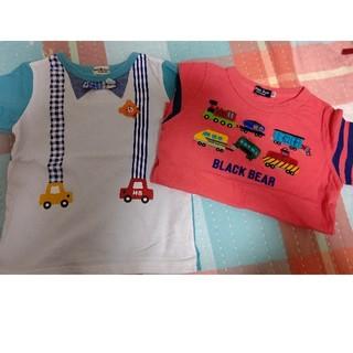 ミキハウス(mikihouse)のミキハウスブラックベアホットビスケッツTシャツ半袖100車電車男の子(Tシャツ/カットソー)