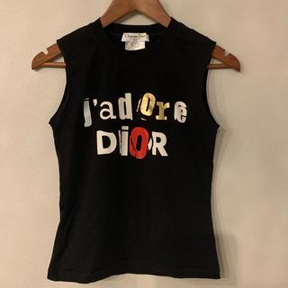 クリスチャンディオール(Christian Dior)のChristian Dior タンクトップ 黒×ディオールロゴ(タンクトップ)