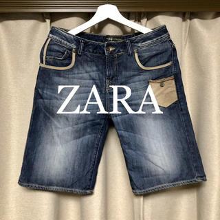 ザラ(ZARA)のZARA 革ポケット デニムショートパンツ! (ショートパンツ)