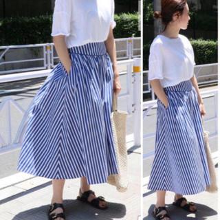 イエナ(IENA)の2018ss     ストライプギャザーフレアースカート(ロングスカート)