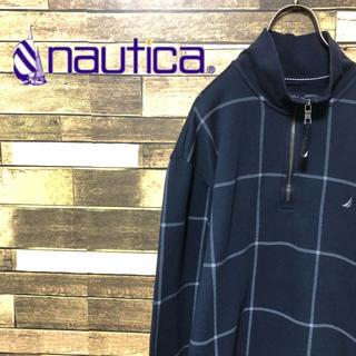 ノーティカ(NAUTICA)の90's ノーティカ ロゴ刺繍 格子チェック プルオーバー トレーナー(ブルゾン)
